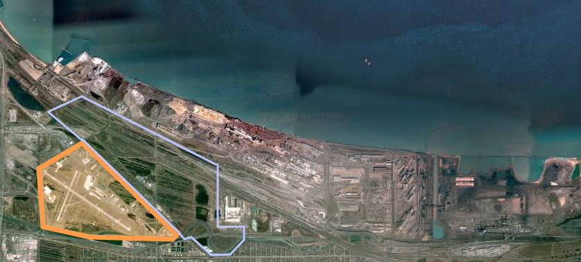 Gary's heartbeat and raison d'etre, US Steel is still a large player in the local economy and is a prominent (the only) feature in Gary's lakefront outside Miller Beach. The orange shading is GYY while the light blue represents that bizarre peri-urban hinterland-- a few square miles- between GYY and USS that could be developed. Parts of the formerly industrial land surrounding Buffington Harbor were developed into the Ameristar casino.