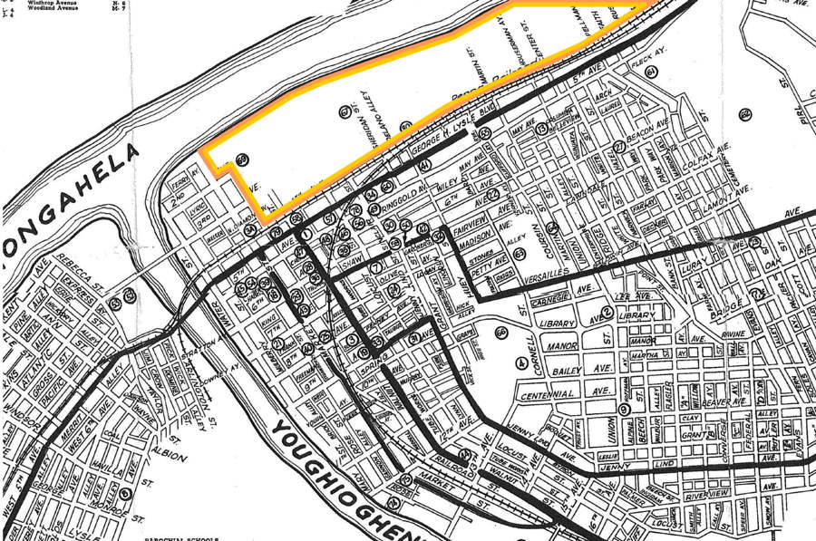 Map of McKeesport with the riverfront Tube Works site highlighted.