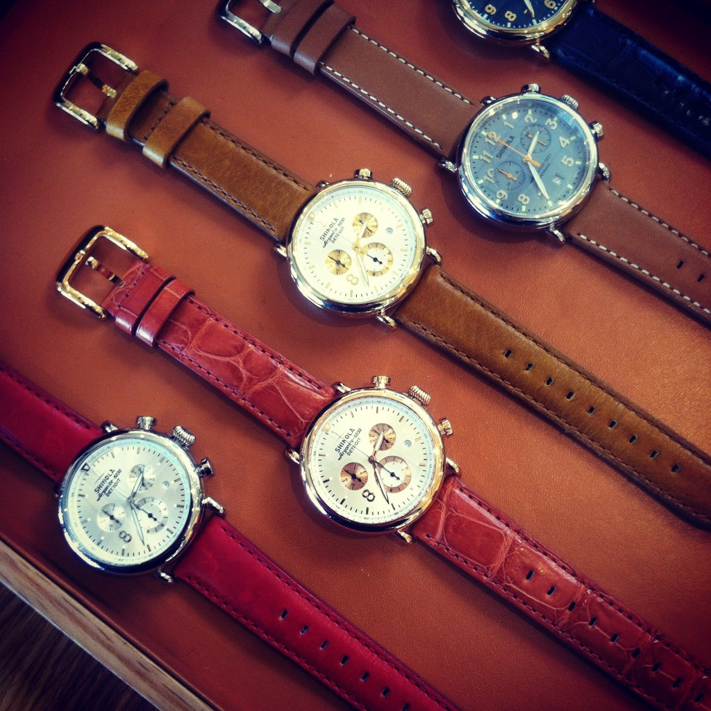 A snapshot of some of Shinola's 41mm models at their flagship Midtown store, ranging from $550 to $1000.