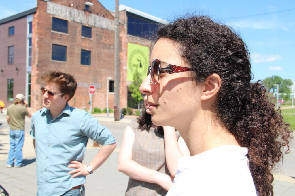 Leila Mekias (DCAC, right) and Nat Zorach (The Handbuilt City) at the Riverfront.