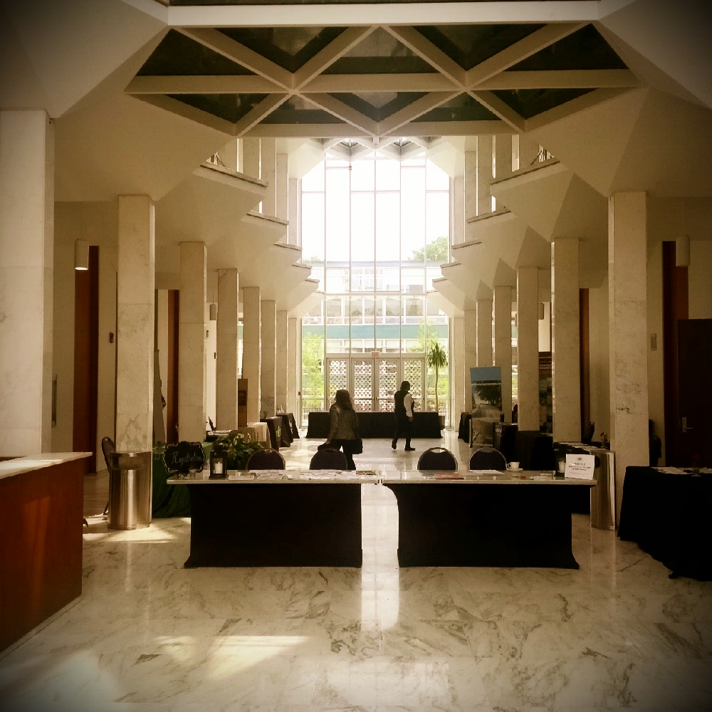 McGregor Hall, the characteristically angular Minoru Yamasaki masterpiece of marble and glass.